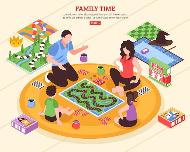 Brettspiel-familien-isometrische illustration Kostenlosen Vektoren