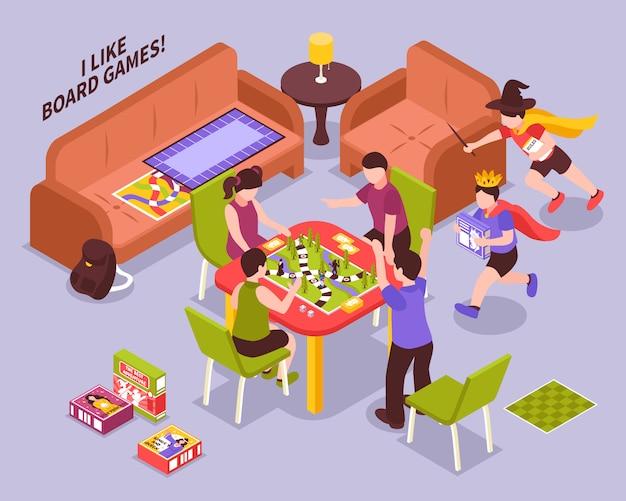 Brettspiel-kinderisometrische illustration Kostenlosen Vektoren