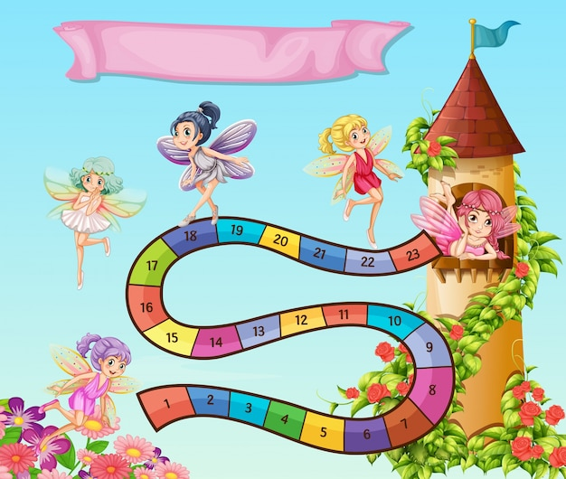 Brettspiel Vorlage Mit Feen Im Garten Fliegen Download Der