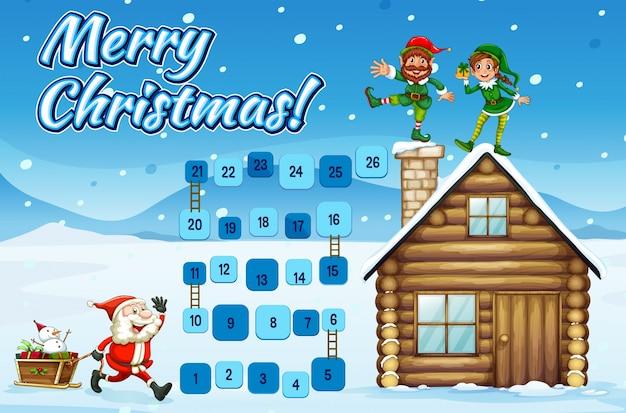 Brettspiel Vorlage Mit Santa Und Elfen Download Der Premium Vektor