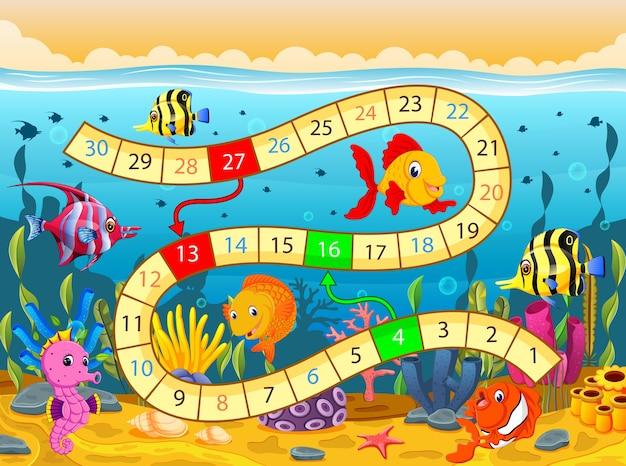 Brettspiel Vorlage Mit Unter Dem Meer Hintergrund Download Der
