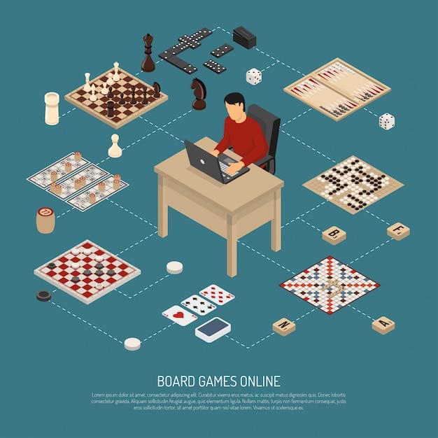 Brettspiele online-komposition Kostenlosen Vektoren