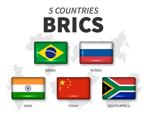 Brics- und mitgliedsflagge. verband von 5 ländern. glänzender knopf- und landkartenhintergrund des runden winkelrechtecks des mitglieds. vektor Premium Vektoren