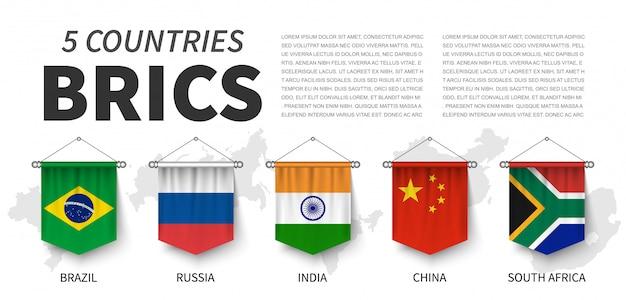 Brics. vereinigung von 5 ländern. realistisches hängen des wimpels 3d Premium Vektoren