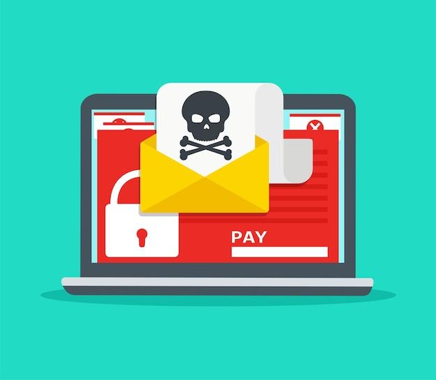 Brief auf laptop mit malware. hacker-angriff, viren-erpresser, e-mail-betrug, verschlüsselte dateien. sicherheitskonzept im internet. Premium Vektoren