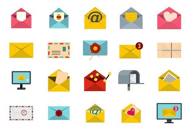 Brief-icon-set. flacher satz der buchstabevektor-ikonensammlung lokalisiert Premium Vektoren