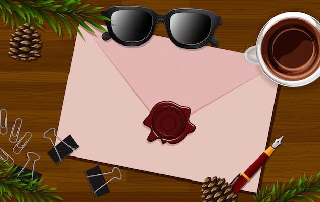 Brief schließen oben auf schreibtischhintergrund mit brille und einigen blättern requisiten Premium Vektoren