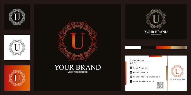Brief u luxus ornament blumenrahmen logo vorlage design mit visitenkarte. Premium Vektoren