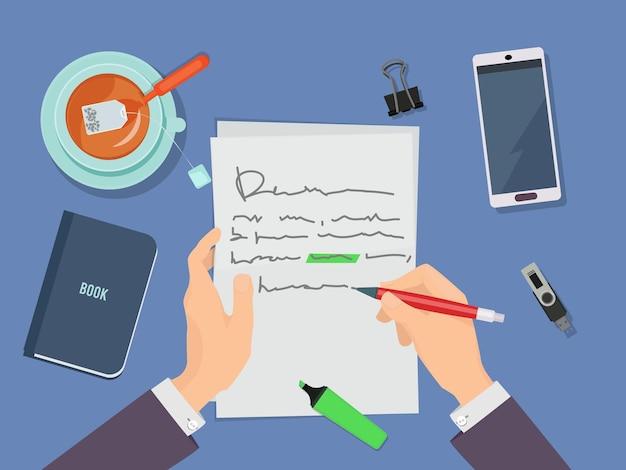 Briefeschreiben. autorenhände, die bleistift halten und gedicht auf papierkonzept schreiben. Premium Vektoren