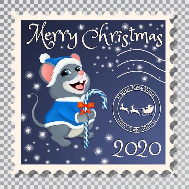 Briefmarke mit santa mouse. Premium Vektoren