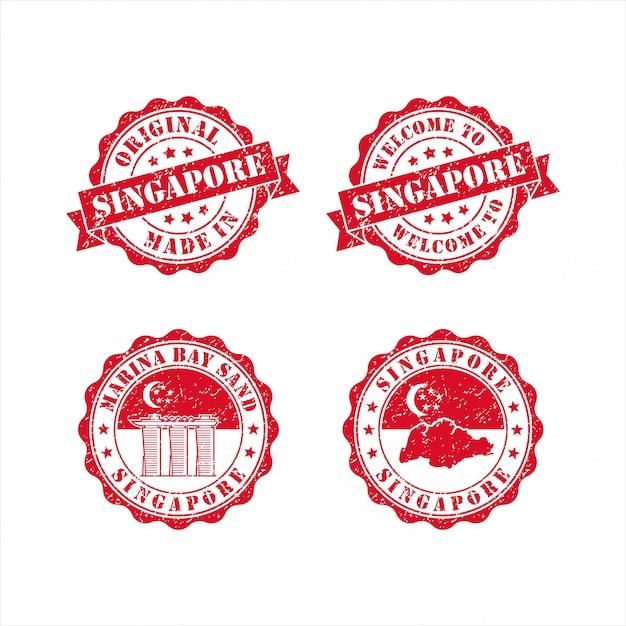 Briefmarke willkommen in der singapore design collection Premium Vektoren