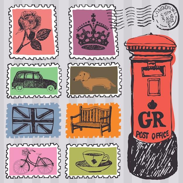 Briefmarken festlegen Kostenlosen Vektoren