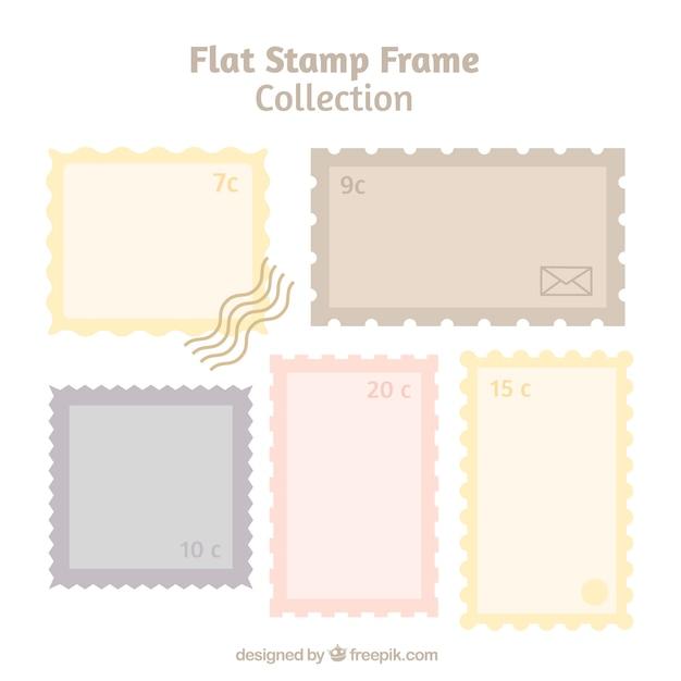 Briefmarken im flachen design Kostenlosen Vektoren