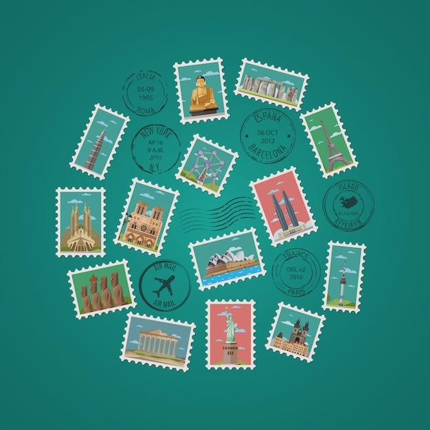 Briefmarken mit berühmten architektonischen kompositionen Premium Vektoren