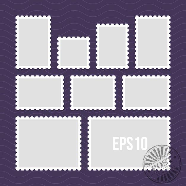 Briefmarken mit perforiertem rand und briefmarke vektor vorlage Premium Vektoren