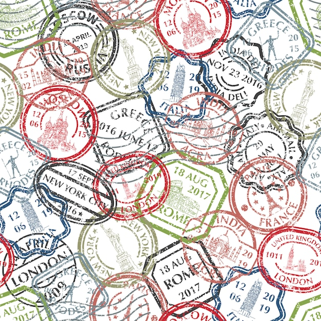 Briefmarken muster Premium Vektoren