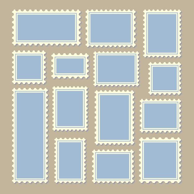 Briefmarken unterschiedlicher größe in blau und weiß Premium Vektoren