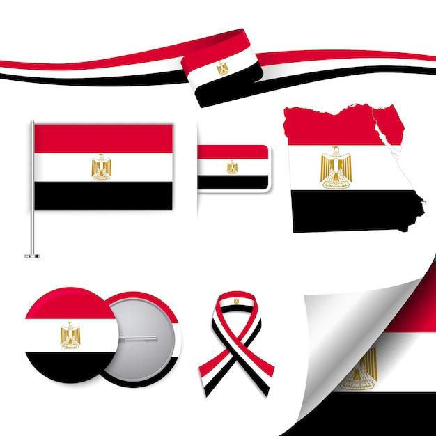 Briefpapier-elemente sammlung mit der flagge der ägypten design Kostenlosen Vektoren