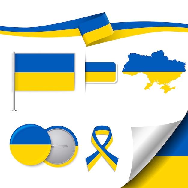 Briefpapier-elemente sammlung mit der flagge der ukraine design Kostenlosen Vektoren