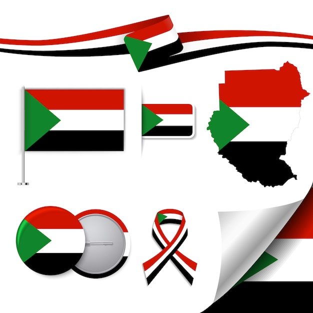 Briefpapier-elemente sammlung mit der flagge des sudan-design Kostenlosen Vektoren
