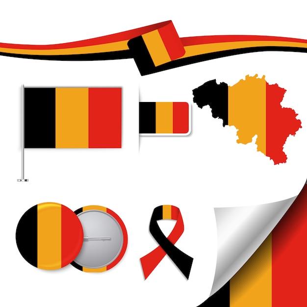 Briefpapier-elemente sammlung mit der flagge von belgien design Kostenlosen Vektoren