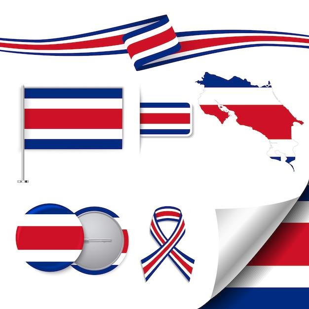 Briefpapier-elemente sammlung mit der flagge von costa rica design Kostenlosen Vektoren