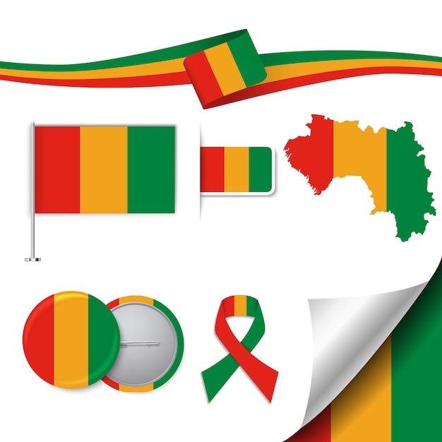 Briefpapier-elemente sammlung mit der flagge von guinea-design Kostenlosen Vektoren