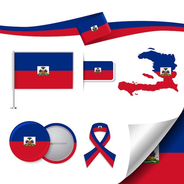 Briefpapier-elemente sammlung mit der flagge von haiti-design Kostenlosen Vektoren