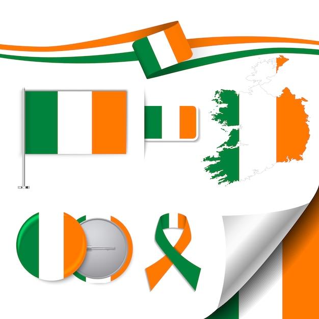Briefpapier elemente sammlung mit der flagge von irland design Kostenlosen Vektoren