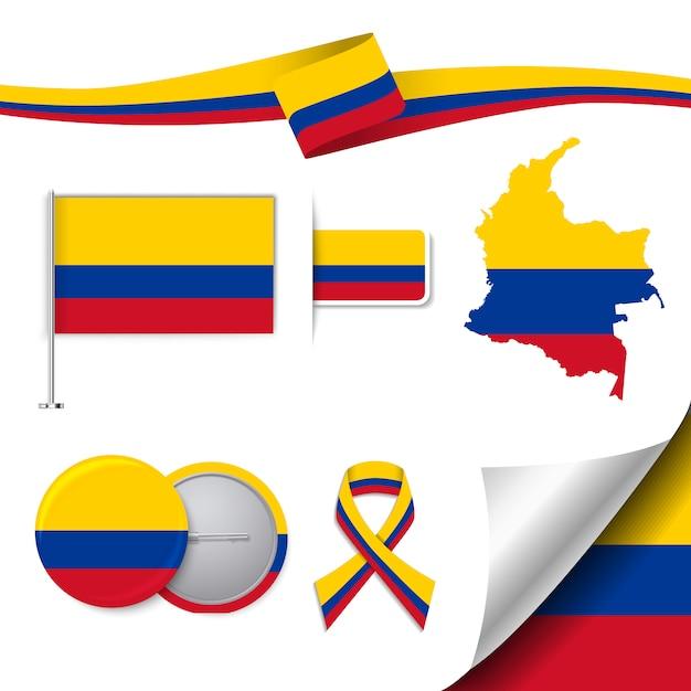 Briefpapier-elemente sammlung mit der flagge von kolumbien design Kostenlosen Vektoren