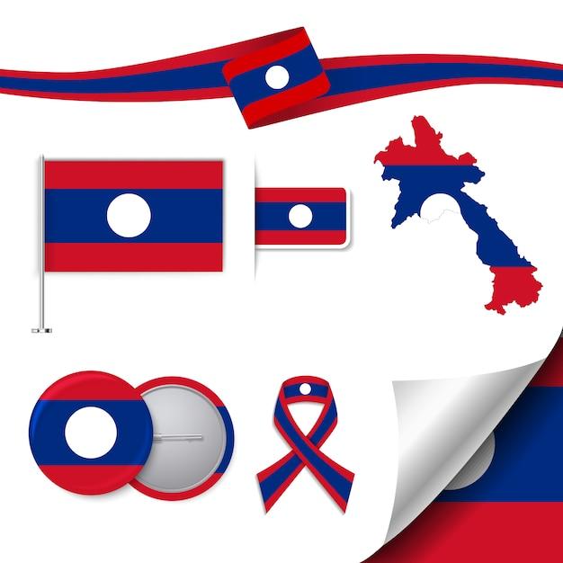 Briefpapier-elemente sammlung mit der flagge von laos design Kostenlosen Vektoren