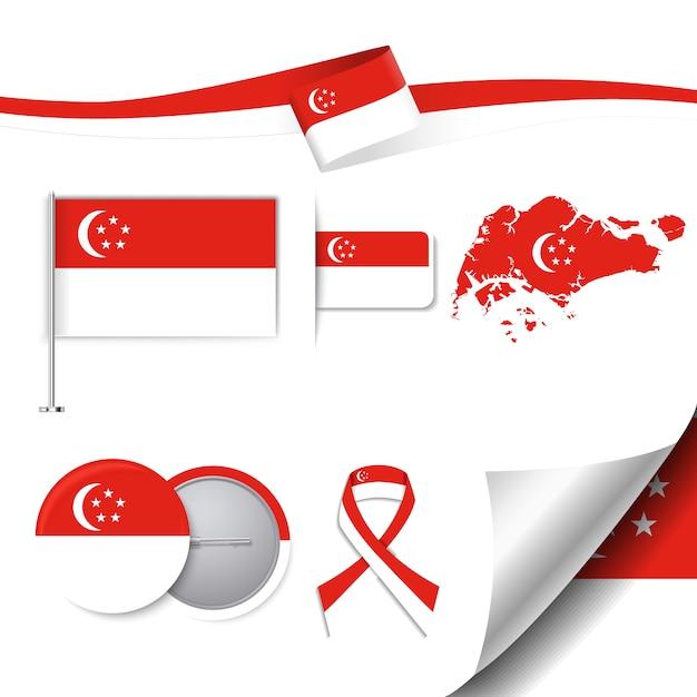 Briefpapier elemente sammlung mit der flagge von singapur design Kostenlosen Vektoren