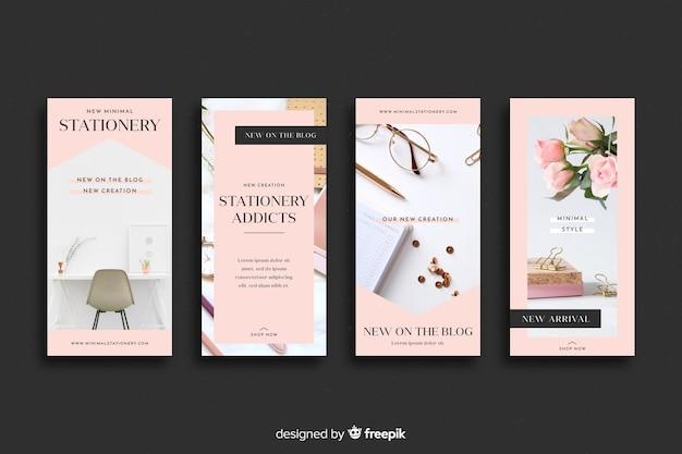 Briefpapier shop instagram geschichten sammlung Kostenlosen Vektoren
