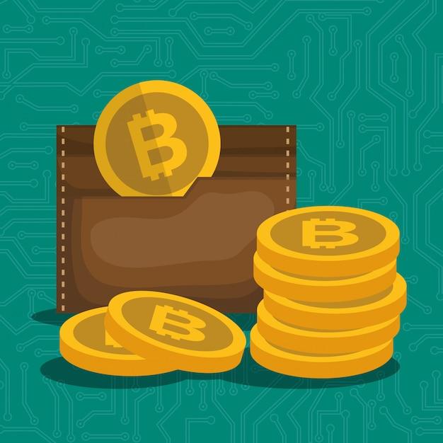 Brieftasche mit bitcoins-symbol Premium Vektoren