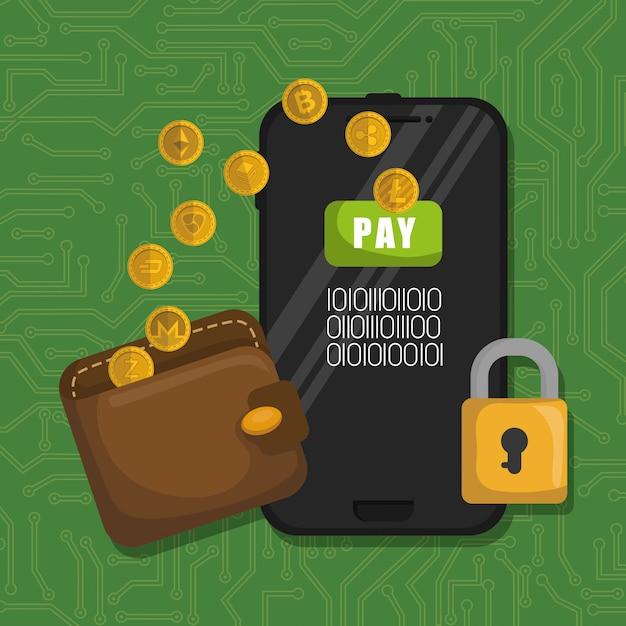 Brieftasche mit virtuellen münzen und smartphone Premium Vektoren