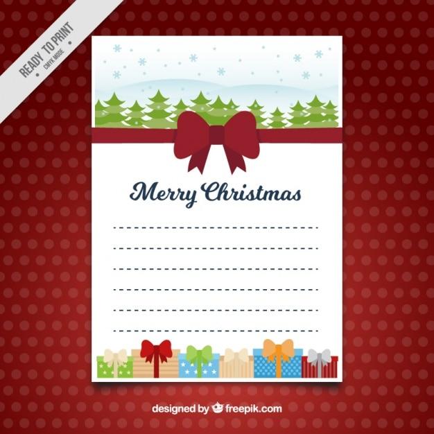 Briefvorlage Mit Roter Schleife Und Geschenke In Flaches Design