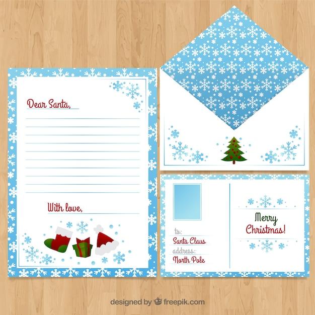 Briefvorlage Mit Typischen Weihnachtsschmuck Und Schneeflocken