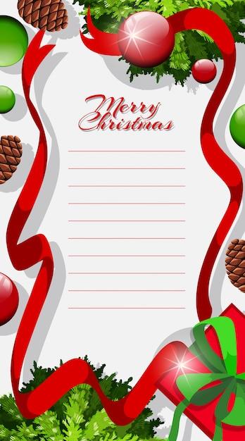 Briefvorlage mit weihnachtsthema Kostenlosen Vektoren