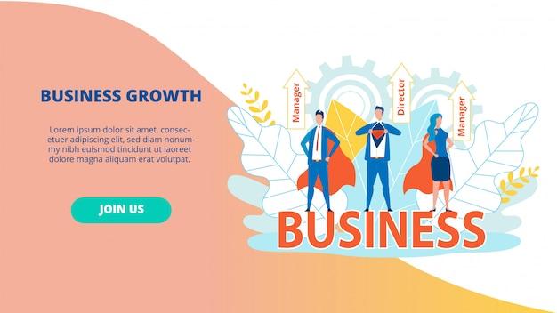 Bright flyer business growth director manager. Premium Vektoren