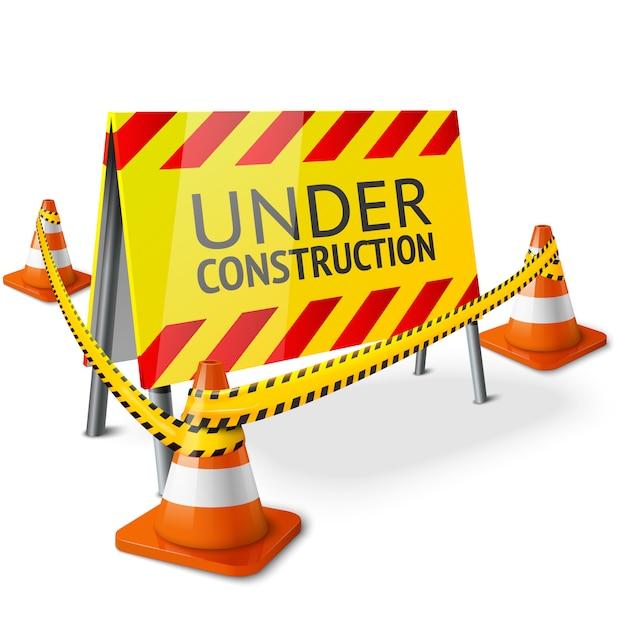 Bright under construction schild mit orange gestreiften straßenkegeln und gelbem warnband. Premium Vektoren