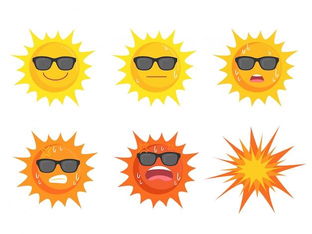 Brillensammlung sun tragende augen Premium Vektoren