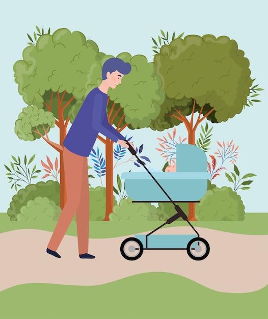 Bringen sie das kümmern des neugeborenen babys mit warenkorb im park hervor Kostenlosen Vektoren