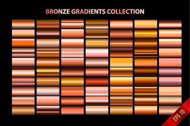 Bronze-farbverläufe-auflistung Premium Vektoren