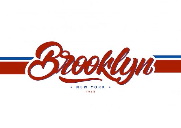 Brooklyn, new york typografie im college-stil. Premium Vektoren