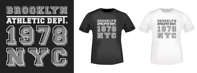 Brooklyn nyc t-shirt druck für t-shirts applikation. Premium Vektoren