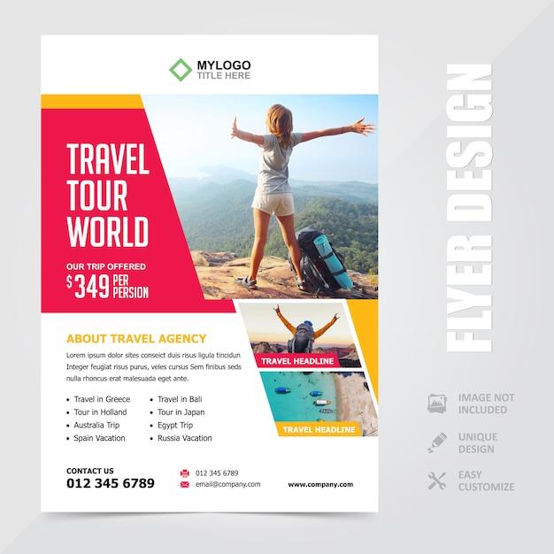 Broschüre-entwurfs-schablone der reise-reise-ferien-a4 Premium Vektoren