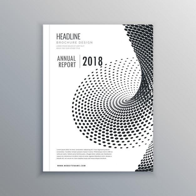 Broschüre flyer-design mit halbton-effekt Kostenlosen Vektoren