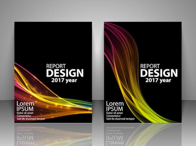 Broschüre mit futuristischer bunter lichtwelle. Premium Vektoren