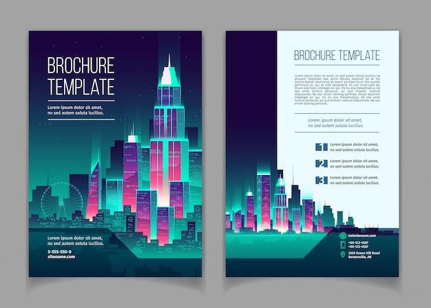 Broschüre mit modernen megapolis in der nacht. broschüre mit leuchtenden gebäuden im cartoon-stil Kostenlosen Vektoren