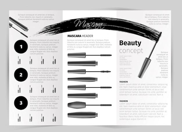 Broschüre mit realistischen vektor-mascara-objekten Kostenlosen Vektoren
